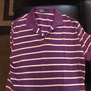 Purple white striped polo shirt